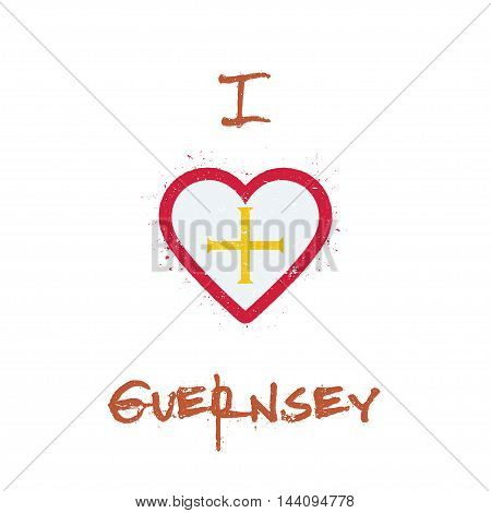 I Love Guernsey T-shirt Design. Channel Islander Flag In The Shape Of Heart On White Background. Gru