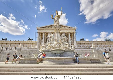 Vienna, Austria - August 14, 2016: The Austrian Parliament Building, It Contains Over One Hundred Ro