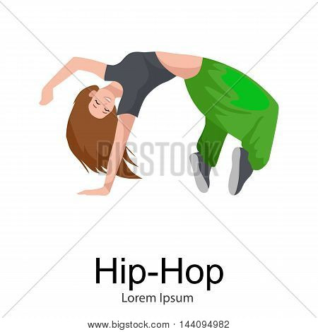 Teenager girl dancing hip hop style isolated vector illustration. Young dancer break dance motion, sexy women modern dancing, break pose balance, funky female dancer vector illustration