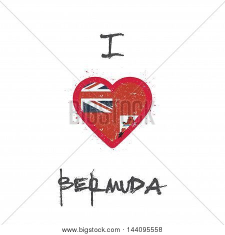 I Love Bermuda T-shirt Design. Bermudian Flag In The Shape Of Heart On White Background. Grunge Vect