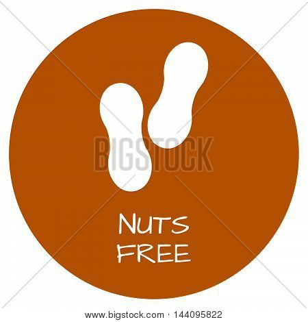 Nuts Free Label. Food Intolerance Symbols. Vector Illustration.