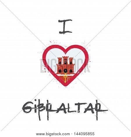 I Love Gibraltar T-shirt Design. Gibraltar Flag In The Shape Of Heart On White Background. Grunge Ve