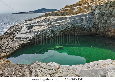 Inside view of Giola Natural Pool in Thassos island, East Macedonia and Thrace, Greece