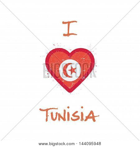 I Love Tunisia T-shirt Design. Tunisian Flag In The Shape Of Heart On White Background. Grunge Vecto
