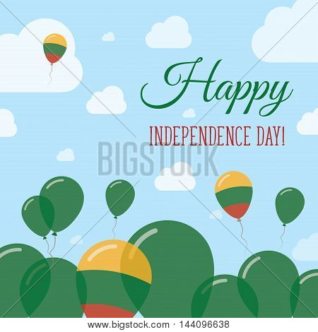 Lithuania Independence Day Flat Patriotic Design. Lithuanian Flag Balloons. Happy National Day Vecto