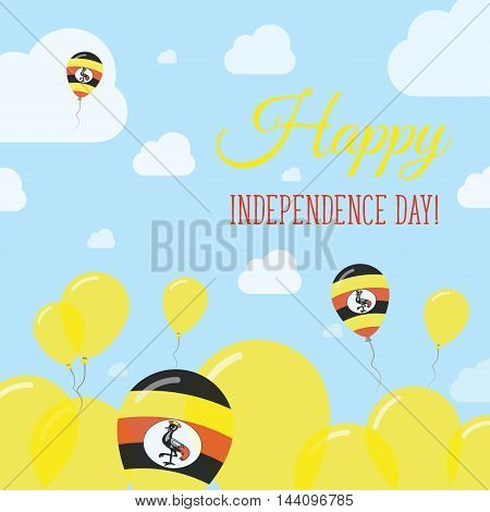 Uganda Independence Day Flat Patriotic Design. Ugandan Flag Balloons. Happy National Day Vector Card
