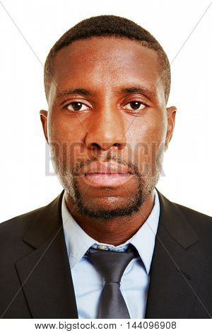 Frontal view of face of an african business man