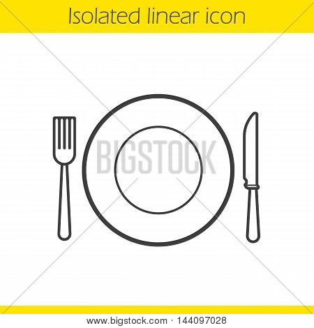 Eatery linear icon. Fork, table knife and plate. Tableware set thin line illustration. Cafe and restaurant logo concept. Contour symbol. Vector isolated outline drawing