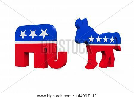Democrat Donkey and Republican Elephant isolated on white background. 3D render