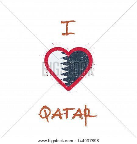 I Love Qatar T-shirt Design. Qatari Flag In The Shape Of Heart On White Background. Grunge Vector Il