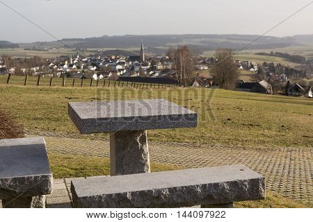 View from rest area on small borough Bad Leonfelden in the countryside - Austria