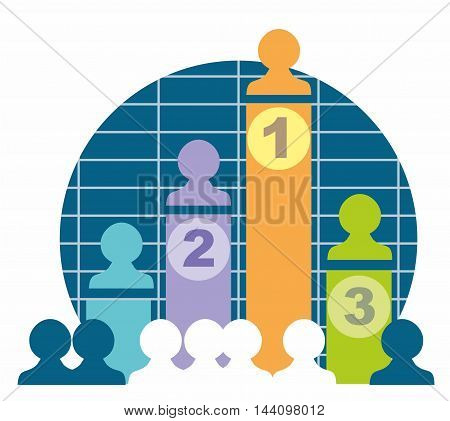 Individual sales team results graph stylised vector illustration