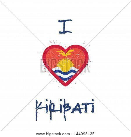 I Love Kiribati T-shirt Design. I-kiribati Flag In The Shape Of Heart On White Background. Grunge Ve