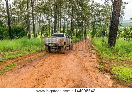 Phetchabun,Thailand-Aug 13,2016: Off road pickup truck was cruising in the forest on a mountain of Phetchabun province, Thailand.