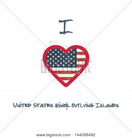 I Love United States Minor Outlying Islands T-shirt Design. American Flag In The Shape Of Heart On W