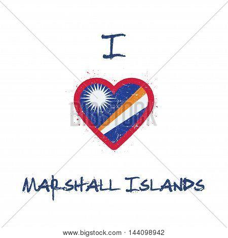 I Love Marshall Islands T-shirt Design. Marshallese Flag In The Shape Of Heart On White Background.