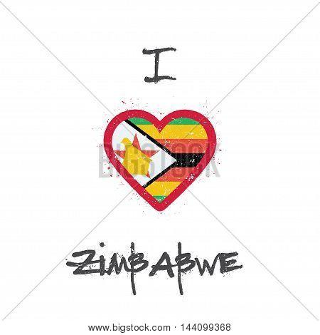 I Love Zimbabwe T-shirt Design. Zimbabwean Flag In The Shape Of Heart On White Background. Grunge Ve