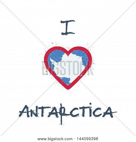 I Love Antarctica T-shirt Design. Antarctica Flag In The Shape Of Heart On White Background. Grunge