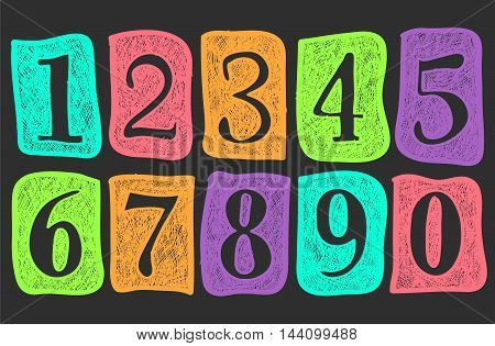 Doodle numbers. Pencil effect sketches. Drawn notepad collection of simple numbers: one two tree four five six seven eight nine and zero.