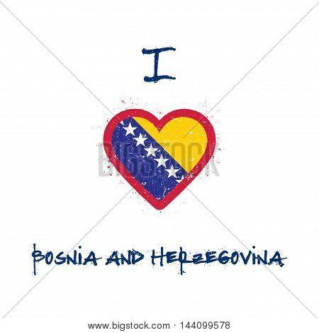 I Love Bosnia And Herzegovina T-shirt Design. Bosnian, Herzegovinian Flag In The Shape Of Heart On W