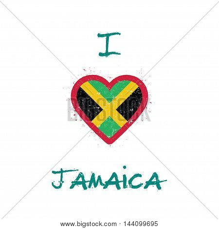 I Love Jamaica T-shirt Design. Jamaican Flag In The Shape Of Heart On White Background. Grunge Vecto