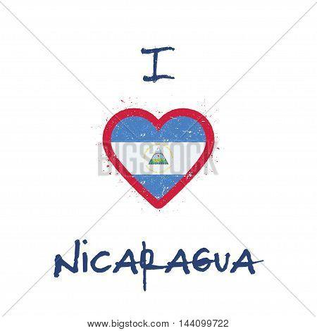 I Love Nicaragua T-shirt Design. Nicaraguan Flag In The Shape Of Heart On White Background. Grunge V