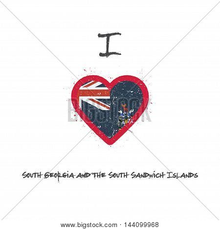 I Love South Georgia And The South Sandwich Islands T-shirt Design. South Georgia And The South Sand