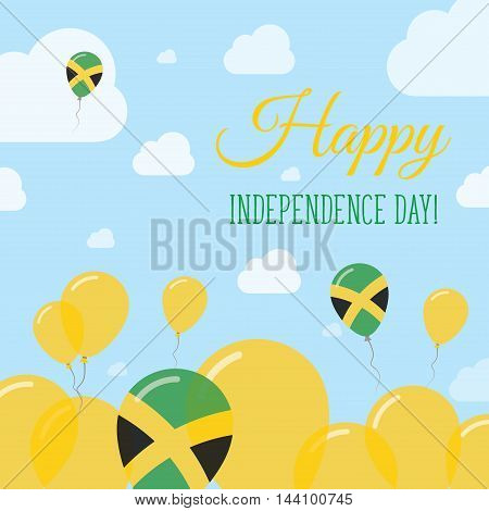 Jamaica Independence Day Flat Patriotic Design. Jamaican Flag Balloons. Happy National Day Vector Ca