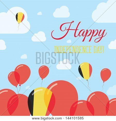Belgium Independence Day Flat Patriotic Design. Belgian Flag Balloons. Happy National Day Vector Car