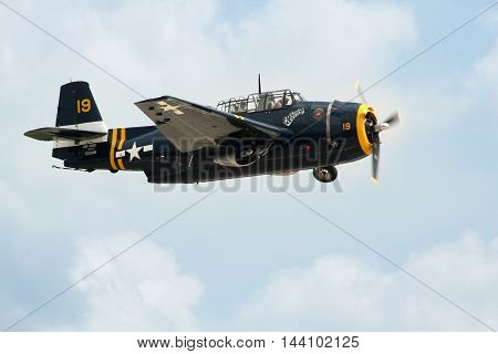 PARDUBICE CZECH REPUBLIC - 29 May 2016: Grumman TBM-3 Avenger aircraft in aviation fair and century air combats Pardubice Czech Republic on 29 May 2016