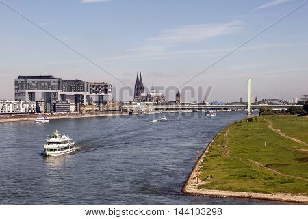 Rhine river and the skyline of Cologne in North Rhine-Westphalia Germany