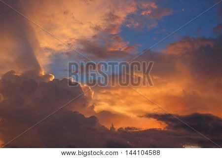 Sunset. beautiful nature Sky and Cloud at sunset Sky Colorful soft cloud and motion raincloud : you may be used as background :