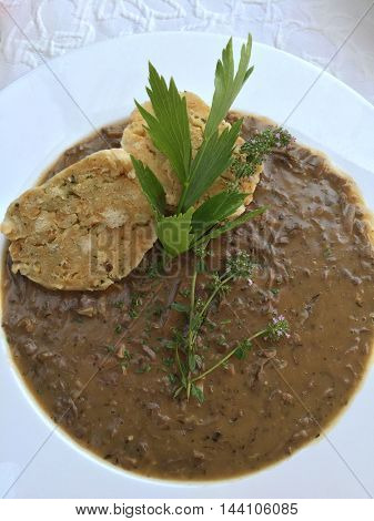 Old styled Viennese soup called Beuschel, a ragout made with veal lungs and heart, serve with bread dumplings in Austria