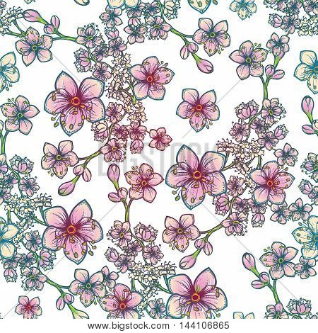 Temperate flowers seamless pattern. Meadowsweet flowers. Tender delicate colors. Fresh spring floral design for textile print. White background. EPS10 vector illustration.