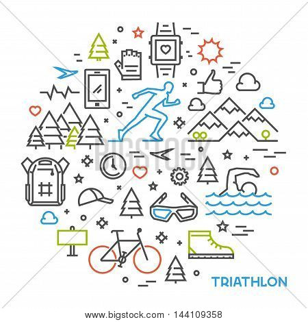 Line round concept for triathlon. Vector linear prints on T-shirts for triathlon. Open path.