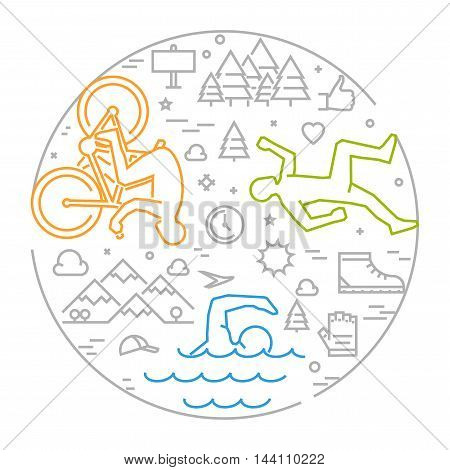 Linear concept for triathlon. Vector line round banner triathlon for web. Open path.