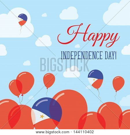 Philippines Independence Day Flat Patriotic Design. Filipino Flag Balloons. Happy National Day Vecto