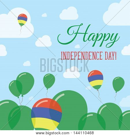 Mauritius Independence Day Flat Patriotic Design. Mauritian Flag Balloons. Happy National Day Vector