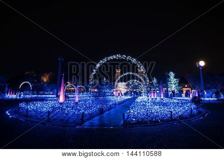 Nabana no sato winter illumination in Mie NagoyaJapan. It is one of Japan's largest illumination parks.