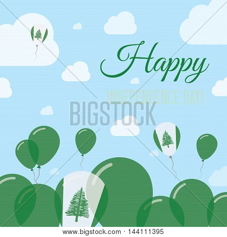 Norfolk Island Independence Day Flat Patriotic Design. Norfolk Islander Flag Balloons. Happy Nationa