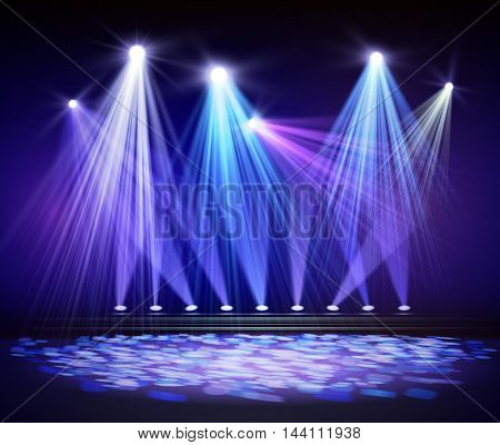 Various stage lights in the dark. Spotlight on stage. Vector