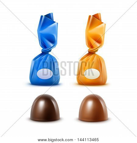 Vector Set of Realistic Dark Black Bitter Milk Chocolate Candies in  Colored Yellow Blue Glossy Foil Wrapper Close up Isolated on White Background