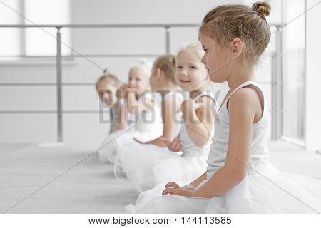 Cute girls training at ballet school