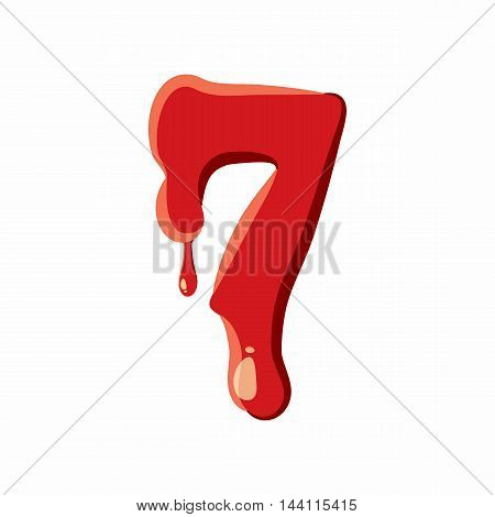 Seven number isolated on white background. Red bloody seven number vector illustration