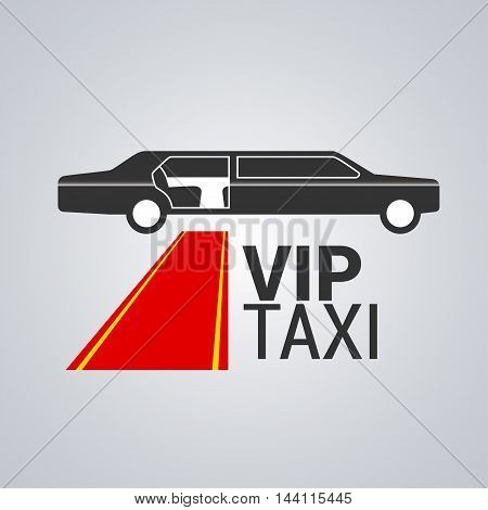 Taxi cab vector logo design. Limo limousine car hire background badge app emblem. Design element of red carpet and VIP taxi sign