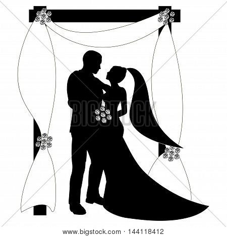 Wedding invitation with profile silhouettes of groom and bride Wedding couple Save the date Wedding arch floral decoration