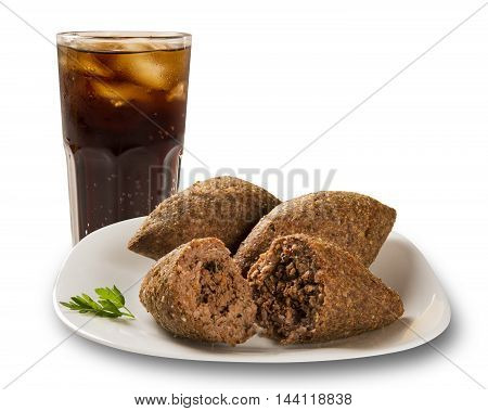 Kibe roast with cola. Brazilian snack. White background.