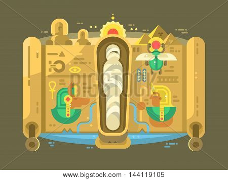 Mummy in a sarcophagus flat design. Egyptian mythology, vector illustration