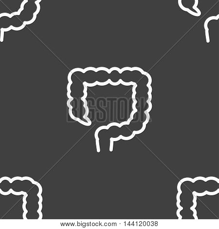Large Intestine Sign. Seamless Pattern On A Gray Background. Vector