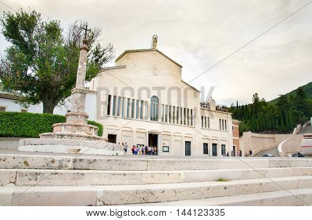 San Giovanni Rotondo, Italy 28 July 2016: the facade of the old church of famous Saint Padre Pio from Pietralcina in Apulia
